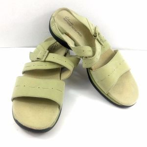 Clarks Springers Leather Green Slingback Sandals 8